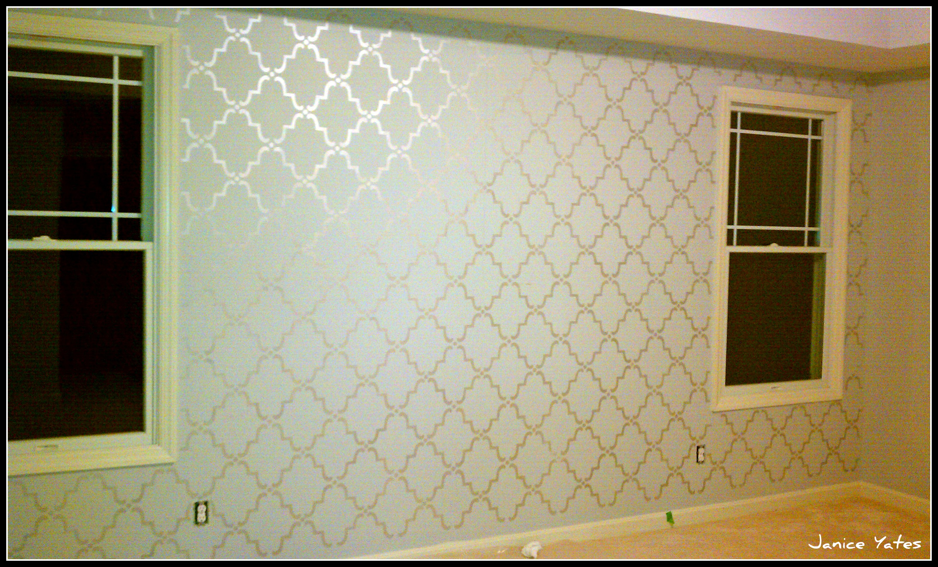 Wall stencil courtney out loud - Metallic paint wall designs ...