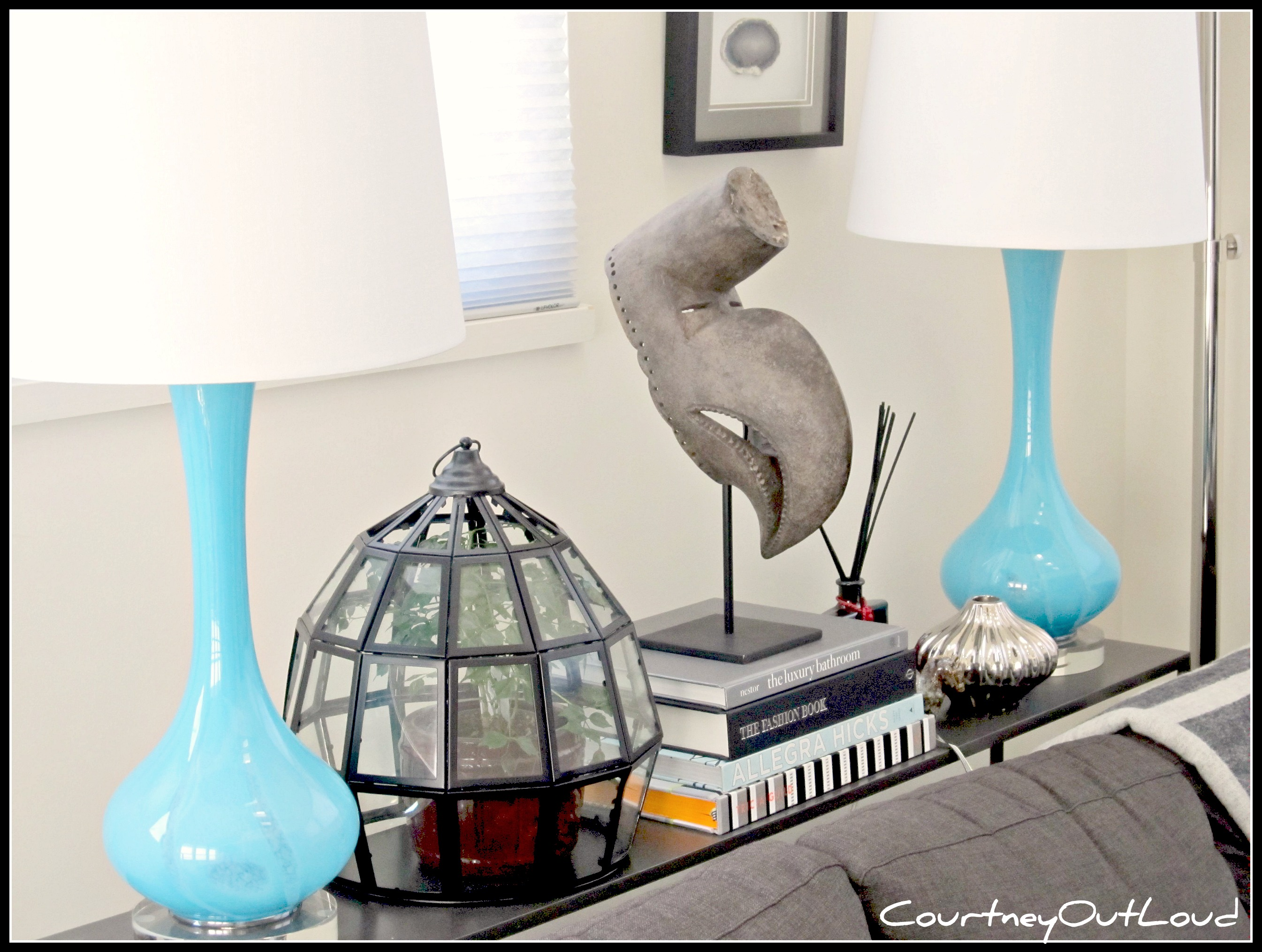 Weekend Find: Drexel Heritage Blue Glass Lamps .