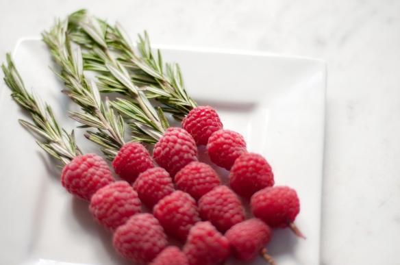 Raspberry and Rosemary Skewers
