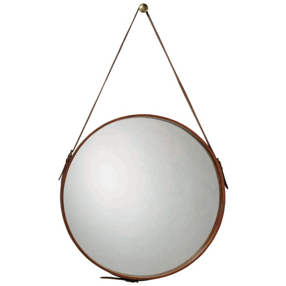 Jaime Young Round Leather Mirror