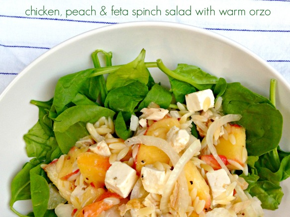 chicken peach feta salad