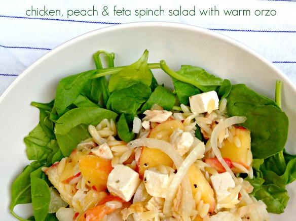 chicken peach feta salad